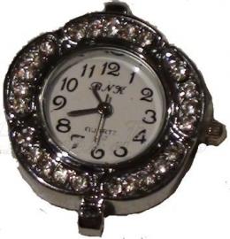 00421 Horloge bling Metaalkleurig/Chrystal  1 stuks