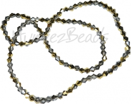 03999 Glaskraal imitatie swarovski Bicone streng ±40cm Half Gold Metallic 4mm  1 streng