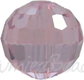 00359 Glaskraal Imitatie Swarovski 5000 round Light roze 10mm 4 stuks