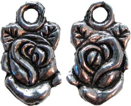 01213 Bedel roos Antiek zilver 18mmx11mm