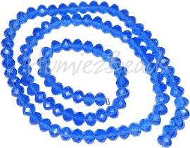 02035 Glaskraal imitatie swarovski faceted Abacus streng ±40cm Sapphire 4mmx6mm  1 streng