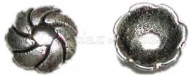 00402 Kralenkap wiel Antiek zilver (Nikkel vrij) 9mmx2mm 11 stuks