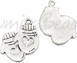 03309 Bedel wanten Antiek zilver (nikkelvrij) 23mmx20mmx2mm; gat 1mm 1 stuks