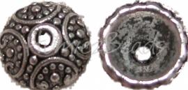 01235 Kralenkap bedrukt Antiek zilver (nikkelvrij) 4mmx10mm 11 stuks