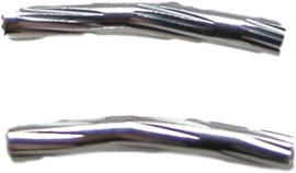 01769 Buiskraal ribbel Zilverkleurig (Nikkelvrij) 15mmx2mm 30 stuks