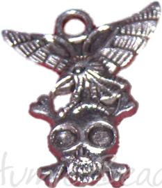 00683 vogel op schedel Antiek zilver