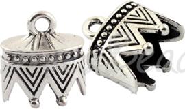 03190 Eindkap Antiek zilver (Nikkelvrij) 22,5mmx20mmx16mm; gat 11,5mmx17,5mm 1 stuks