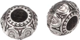 00486 Metalen kraal Rondel Antiek zilver (Nikkelvrij) 10x6,5: gat 3mm 2 stuks