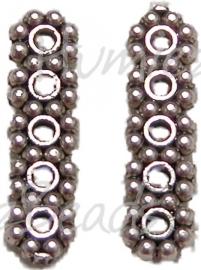 01062 Verdeler spacer daisy 5-gaats Antiek zilver (Nikkelvrij) 1,5mmx4,5mmx17mm 7 stuks