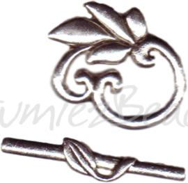 00221 Kapittelslot blaadje Antiek zilver (Nickel vrij) 25mmx20mm