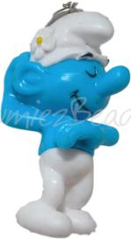 00318 3d Bedel smurf met telefoonhanger Blauw/wit 40mmx21mmx16mm 1 stuks