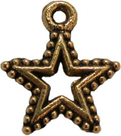 01793 Bedel ster open beslagen Antiek goud (nikkelvrij) 17mmx15mm