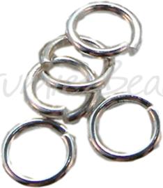 00918 Ringetjes zware kwaliteit Zilverkleurig 6mmx1mm 60 stuks