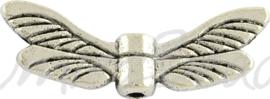 02213 Spacer vleugel Antiek zilver (Nikkelvrij) 7mmx20mmx3mm 5 stuks