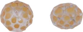 00620 Glaskraal Rondel handgeschilderd Transparant zalm 14mmx18mm; gat 1mm 1 stuks