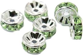 04399 Spacer rondel Rhinestone Zilverkleurig (Nikkel vrij)/peridot 7 stuks