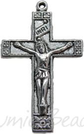 00490 Hanger kruis Antiek zilver (Nikkel vrij)