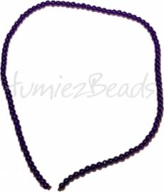 03451 Glaskraal streng (±30cm) imitatie jade Donker blauw 4mm 1 streng