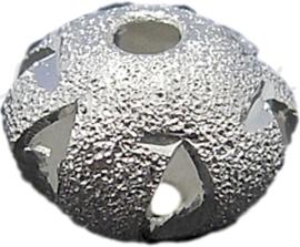 00191 Stardust kraal Zilverkleurig 9mmx6,5mm; gat 2mm 5 stuks