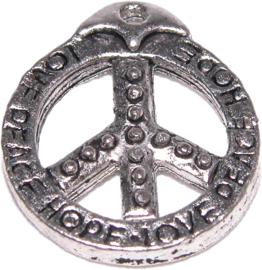 01314 Bedel peace teken Antiek zilver (Nikkelvrij)
