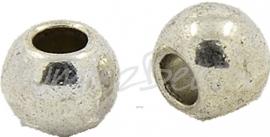 03832 Metalenkraal glad Antiek zilver (Nickel vrij) 8mmx9mm; gat 4mm