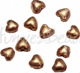 03061 Spacer hartje Goudkleurig 10mmx6mm 11 stuks