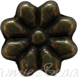 00887 Metalen bloemen kraal Brons 9mm 7 stuks