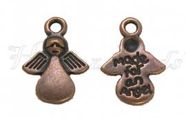 01653 Bedel Engel made for an angel Antiek koper (Nickel vrij) 17mmx13mm