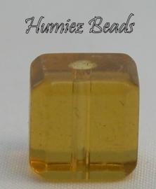 02753 Glaskraal vierkant facet geslepen Geel 10mm 1 streng (±30cm)