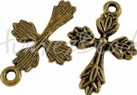 01348 Bedel kruis Antiek goud (Nickel vrij) 26mmx17mm 7 stuks