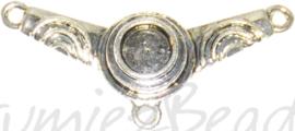 04147 Verdeler 1-2 gaats cabochonsetting Antiek zilver 15mmx37mm; oog 2,5mm; setting 6mm 3 stuks