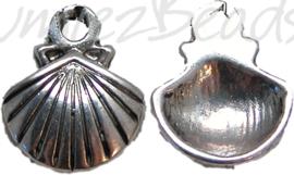00863 Bedel schelp Antiek zilver (Nikkelvrij) 14mmx11mm