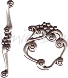 00323 Kapittelslot fantasie Antiek zilver (Nickel vrij) 3 stuks