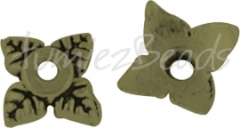 03758 Kralenkap sterbloem Antiek brons (Nikkelvrij) ±30 stuks