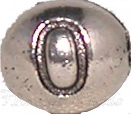 03176 Metalen kraal cijfer 0 Antiek zilver (Nickel vrij) 7mmx6mm; gat 1mm 1 stuks