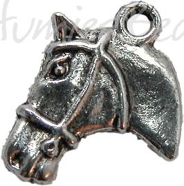 00648 Bedel hoofd paard Antiek zilver (Nikkelvrij) 21mmx17mm