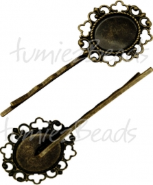 01543 Haarspeld met setting Antiek brons 70mmx2mm; setting 32mmx27mm; inner 19mmx15mm 1 stuks