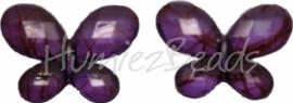 01840 Acryl kraal vlinder Paars 23mmx29mm 5 stuks