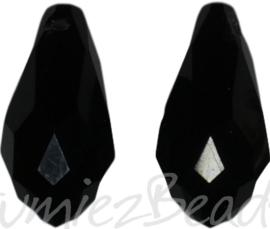 04350 Glaskraal druppel Zwart 10mmx20mm; gat 1mm 2 stuks