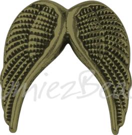 02074 Spacer vleugel Antiek brons (Nikkelvrij) 19mmx19mmx5mm; gat 2mm 3 stuks