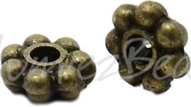 01330 Spacer daisy Antiek brons (Nikkel vrij) 4mmx1mm; gat 1mm 35 stuks