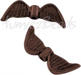 02309 Spacer vleugel Antiek koper (Nikkelvrij) 8mmx21mmx3mm; gat 1mm 5 stuks