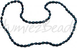 03203 Glaskraal electroplate facet ovaal streng ± 40cm AB color 6mmx4mm 1 streng