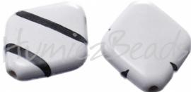 00616 Acryl kraal diamand Wit-zwart 6 stuks