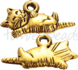 00367 Bedel kat Antiek goud (Nickel vrij) 18mmx13mmx2mm; gat 2mm