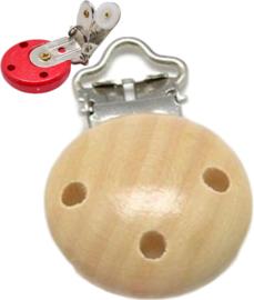 04058 Clip voor speenketting hout Moccasin 1 stuks