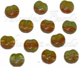 02362 Tsjechische glaskraal Geel-groen-oranje 11mmx12mmx5mm 12 stuks