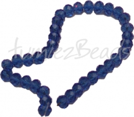 02737 Glasperle imitation swarovski faceted Abacus Blau 6mmx8mm 1 strang