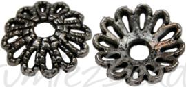 00702 Kralenkapje kraag Antiek zilver (Nikkelvrij) 11mm 11 stuks