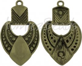 02516 Hanger chique hart Antiek brons (Nikkelvrij) 69mmx40mmx9mm 1 stuks